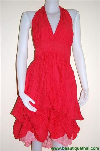 Adjustable length halter Dress Red