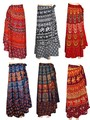 RETRO Hippie Bohemian Festival Gypsy Indian Ethnic Block Print Wrap Skirt