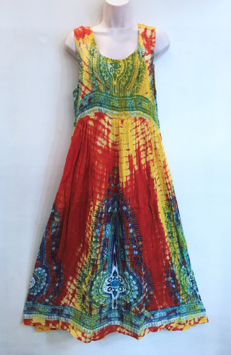 Hippie Bohemian Reggae Smocked Empire Waist Festival Rasta Dashiki Tie Dye Maxi Dress 6 Colors