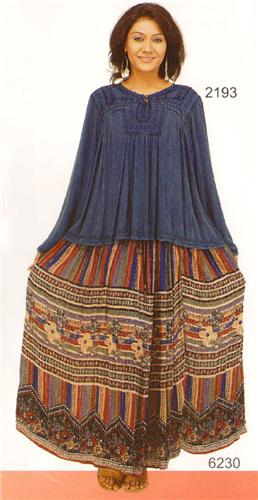 GEETA Hippie Bohemian Gypsy Indian Ethnic Silver Thread Skirt Assorted Patterns Colors