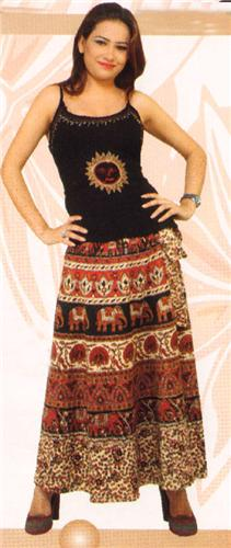 GEETA Hippie Bohemian Gypsy Indian RETRO Ethnic Block Print Wrap Skirt All Colors 6051