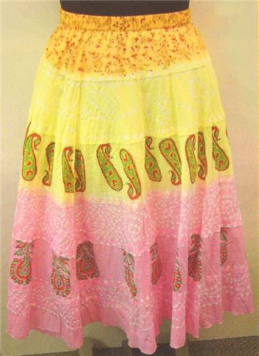 GEETA Hippie Clothes Bohemian Clothing Gypsy India Ethnic Print Bandini Skirt All Colors