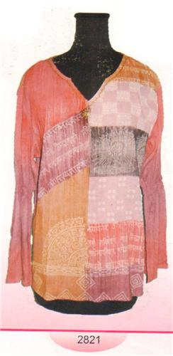 GEETA Hippie Bohemian Gypsy Indian LS V Neck Block Print with Beads RETRO Kurta Top Tunic 2821