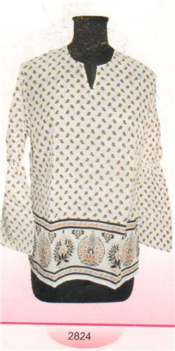 GEETA Hippie Bohemian Gypsy Indian Ethnic Print RETRO Kurta Top Voile 2824