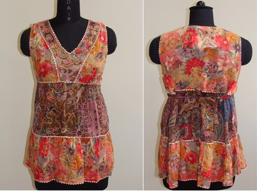 GEETA Hippie Clothes Bohemian Gypsy Indian Baby Doll Print Festival Smock  Tank Top 2959