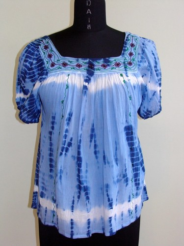 GEETA Hippie Clothes Bohemian Gypsy Indian Embroidery Tie Dye Stripe Festival Smock  SS Top 2903