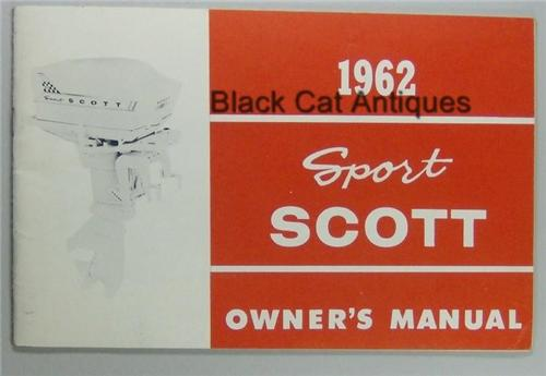 Original Vintage 1962 Sport Scott 27.7 HP Outboard Motor Owners Manual/Guide NOS