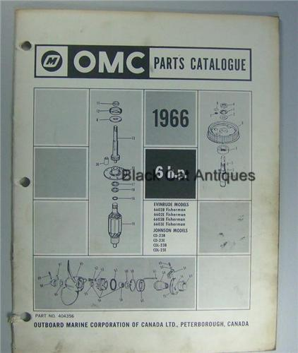 1966 Outboard Marine Parts Catalog 6 HP Evinrude Johnson 8 Models Included Used