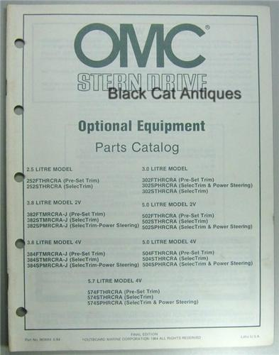 Original 1984 OMC Outboard Marine Stern Drive Optional Equipment Parts Catalog NOS