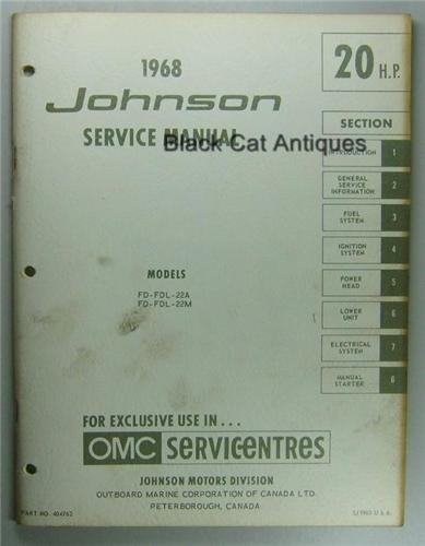 1968 omc johnson outboard service manual 20 hp fd 22a. Black Bedroom Furniture Sets. Home Design Ideas