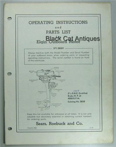 1955 Sears Elgin Outboard Owners Manual/Part List For 3 5 HP Model  571 58501 Used