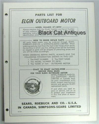 1957 Elgin Outboard Owners Manual Parts 7 5 Hp 571 58781