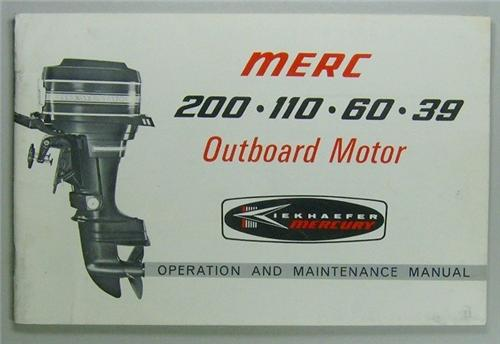 Original 1968 Mercury Outboard Owners Manual/Guide 200, 110, 60, 39HP Models NOS