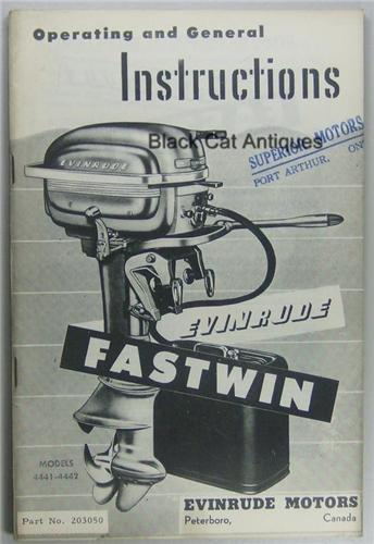 Original Evinrude Fastwin Outboard Owners Manual 14 HP Models 4441 & 4442 Used