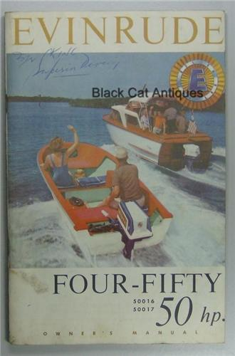Original Evinrude Four-fifty Outboard Owners Manual 50 Hp Models 50016-50017 Used