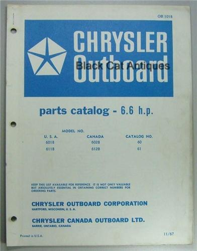 1967 Chrysler Outboard Parts Catalog 6.6 HP, Model, USA ...