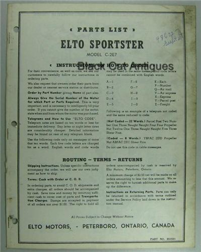 Original Elto Sportster Outboard Parts List Model C-2E7 Used