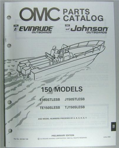 1989 OMC Outboard Motor Parts Catalog Evinrude Johnson 150 HP - 24 Models  Included NOS