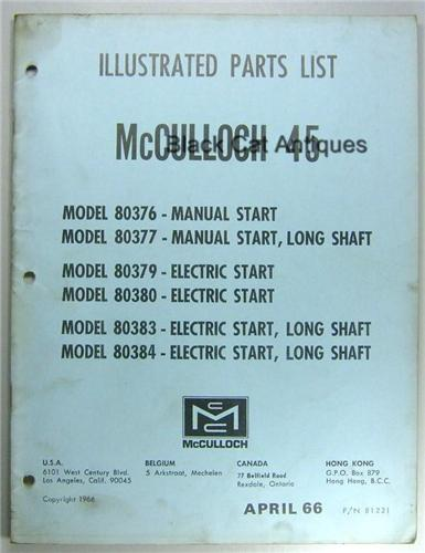 1966 McCulloch 45 HP Outboard Motor Parts List Models 80376, 80377, 80379, 80380, 80383, 80384, Used