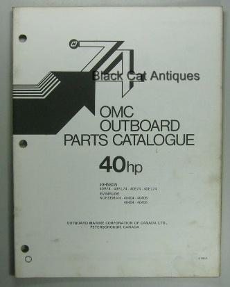 Original 1974 OMC Parts Catalog 40 HP Evinrude & Johnson 8 Models Included Used