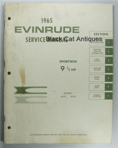 Original 1965 OMC Evinrude Outboard Service Manual Sportwin 9.5 HP Models 9522, 9523 Used