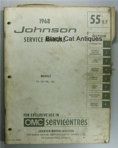 Original 1968 OMC Johnson Outboard Service Manual 55 HP Models TR-10S, TRL-10S Used