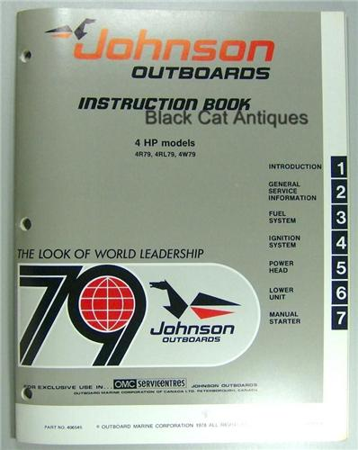1979 OMC Johnson Instruction Book 4HP Models 4R79, 4RL79, 4W79 NOS