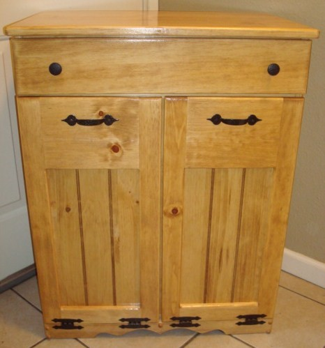 Handcrafted Wood Trash Recycle Pet Food Bin Double