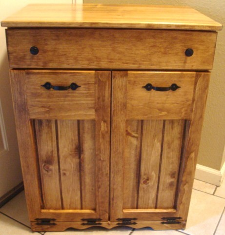 Handcrafted Wood Trash Recycle Pet Food Bin Double Early American Finish