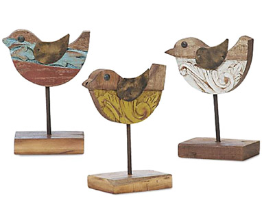 Amazing Wooden Carved Baby Birds Home Decor Sculptures