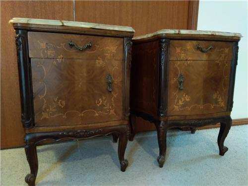 SOLD - ANTIQUE FRENCH MARQUETRY PAIR of CHESTS/ CABINETS/ TABLE/ BEDSIDE c1920's-1940's