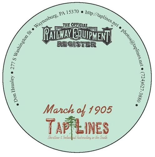 March of 1905 Official Equipment Register scanned to Adobe Reader PDF file on CD