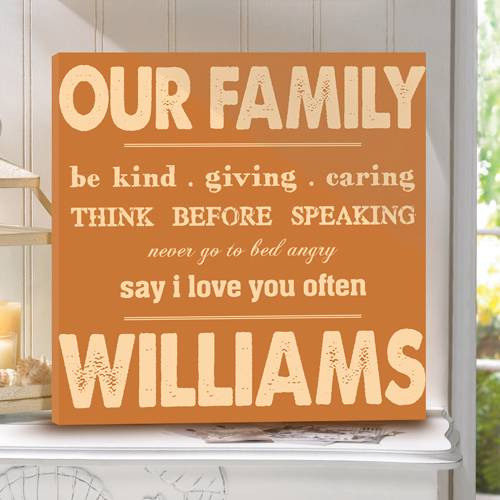 Personalized Family Name Wall Canvas Our Family Rules Gallery ...