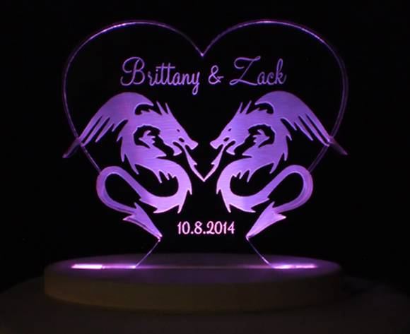 Personalized Dragon Love Wedding Cake Topper Engraved Acrylic Opt ...