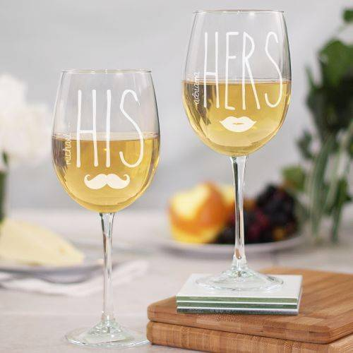 Personalized His/Hers Wine Glasses Valentines or Wedding Mustache Lips Glass Set