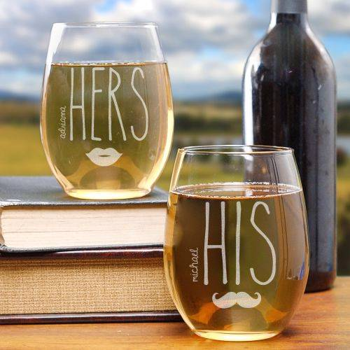 Personalized His & Hers Stemless Wine Glasses Mustache & Lips Couples Glass Set