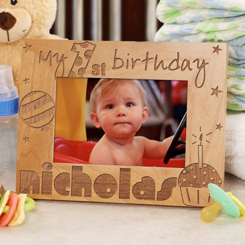 Personalized First Brithday Picture Frame Boy 1st Birthday Childs ...