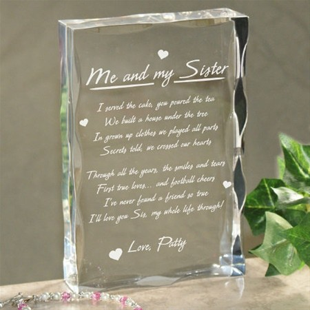 Me and My Sister Keepsake Block gift personalized free ...