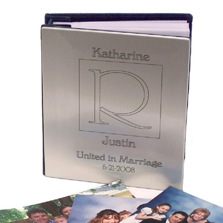 Personalized Silver Wedding Photo Album, Engraved Silver picture Album