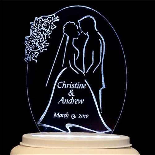 wedding cake toppers light up personalized wedding cake topper amp groom style 26521