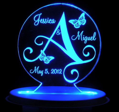 lighted wedding cake toppers personalized wedding cake topper monogram butterfly 16868