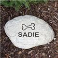 Personalized Dog Bone Garden Stone Engraved Dog Name Garden Yard Stone Marker