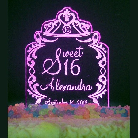 Personalized Sweet 15 /16 Tiara Design Birthday Cake Topper Optional LED Light