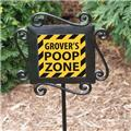 Personalized Dog Poop Zone Garden Stake Dog Puppy Poop Zone Sign Yard Stake
