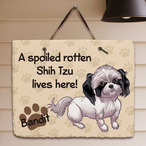 Personalized Shih Tzu Welcome Sign Spoiled Shih Tzu Dog Lives Here Slate Plaque