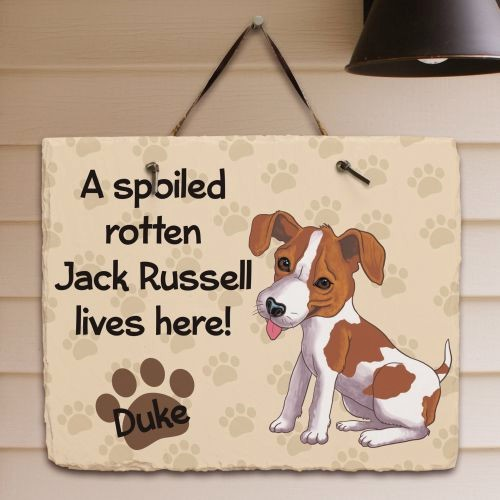 Personalized Jack Russell Welcome Sign Spoiled Here Jack Russell Slate Plaque