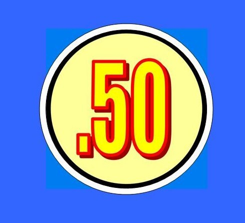 "50 cent VINYL 1 1/4"" price sticker Labels vending"