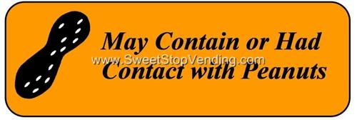 Peanut Warning 1 x 2.5 Vinyl Sticker Labels OUTSIDE MOUNT