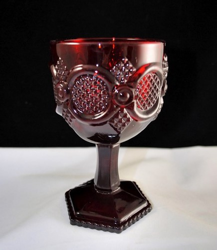Avon 1876 Cape Cod Collection Red Glass Water Goblet