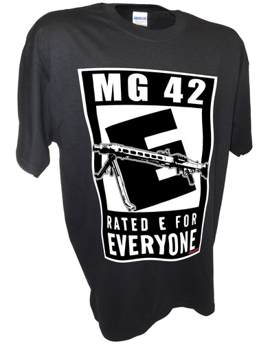 Mg42 Rated E WW2 Stg44 Rifle Guns Firearms Tee black.jpeg